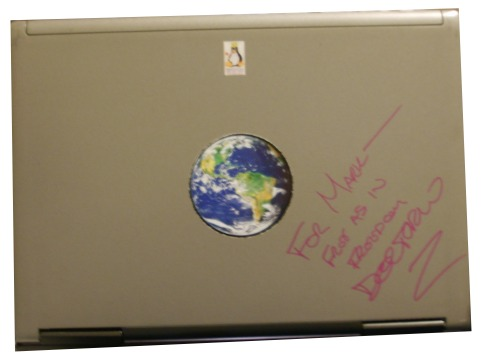 Mark's Laptop, autographed by Cory Doctorow